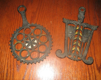 Set of 2 Cast Iron Trivets Steampunk Vintage