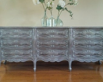 SOLD TO SABRINA - French Country Parlor Buffet, Sideboard, Credenza, Grey Console, Cabinet, French Provincial Dresser