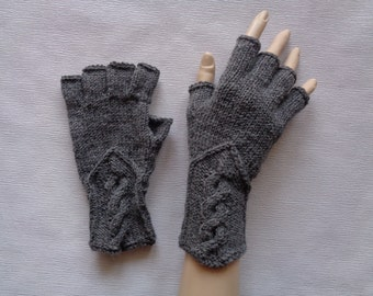 Hand-knitted medium grey color gloves with half fingers, Gloves & Mittens, Gift Ideas, Grey gloves, Christmas gift, Arm warmers