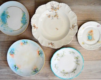 Mismatched Plates Instant Plate Collection, Plate Wall, Bright Blue