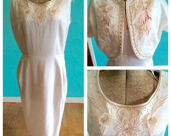 1950's White Beaded Wiggle Dress and Bolero with cut outs and 3-D appliques