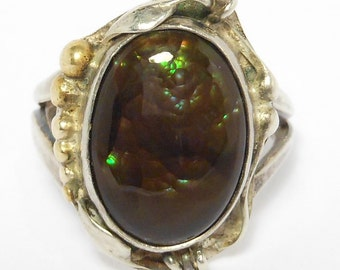 Stunning Artisan Made Signed Fire Agate Silver Ring