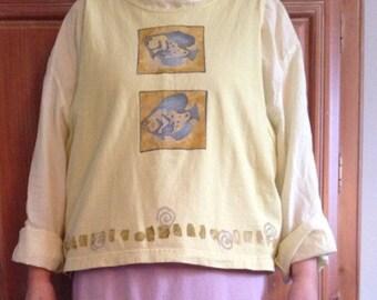 Blue Fish Sleeveless Tshirt with Fish Design