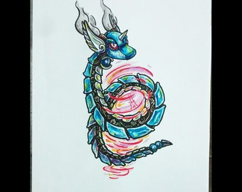 Steampunk Dragonair ORIGINAL Watercolor