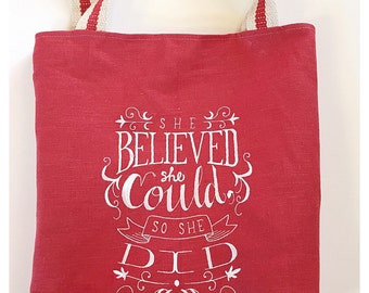 """Tote Bag """"She Believed She Could So She Did"""" Embroidered Tote Bag, Home Decor Fabric, Linen Fabric"""