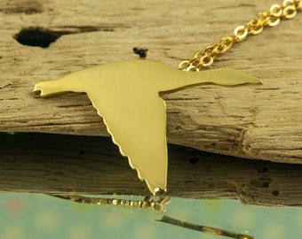 Golden Pendant necklace, barnacle white goose, polished brass, on chain, hand cut, jewelry
