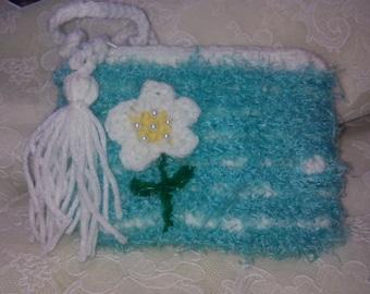 Crocheted Aqua Clutch Purse