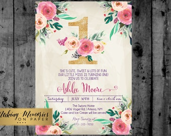 First Birthday Party Invitation, 30th, 40th, Watercolor, Flowers,Floral, Shower Invitation, Floral Invite, Flower Invite -  sfc