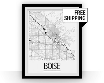 Boise Map Poster - usa Map Print - Art Deco Series