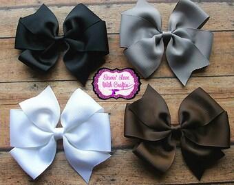 Pinwheel hair bow set, hair bows, simple bow