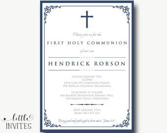 Boys First Holy Communion/Boys Confirmation Invitation/Navy blue white/printable/christening/Thank you/Boys Baptism Invitation-Hendrick