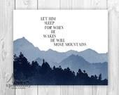 Let Him Sleep Nursery Decor, Move Mountains, Nursery Art, Nursery Typography, Baby Boy, Nursery Decor, Mountain Wall Art Print, Boys Nursery