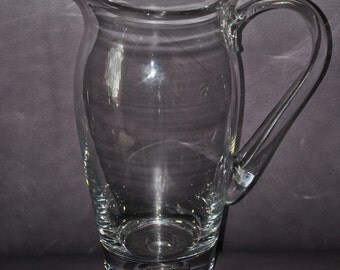 Sturdy Vintage Clear Glass Pitcher w Suspended Bubble in Base