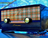 SCOTTISH TARTAN Ivory Retro Vintage 1954 Capehart Model T-54 AM Tube Radio Totally Restored!