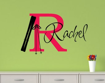 Girls Ski Wall Decal - Personalized Name - Sports Theme Room Decor - Monogrammed Vinyl Lettering - Teen Room - ski Decor