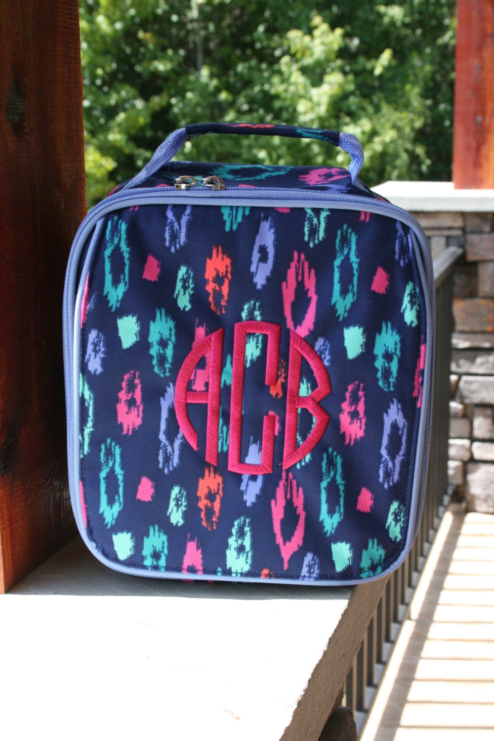 Girls Monogrammed Lunch Bag Multicolor Leopard Personalized