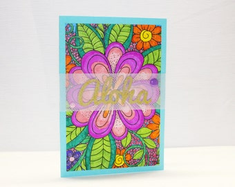 Tropical Friendship Card - Aloha Card - Just Because Card - Bright Hello Card - Tropical Floral Card