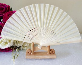 White Silk Fan For Wedding 8 Hand Outdoor