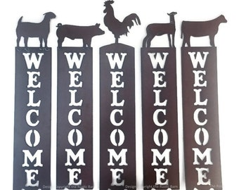 Pig Goat Heifer Lamb Rooster Farm Vertical Welcome Sign made of Rustic Rusty Rusted Recycled Metal