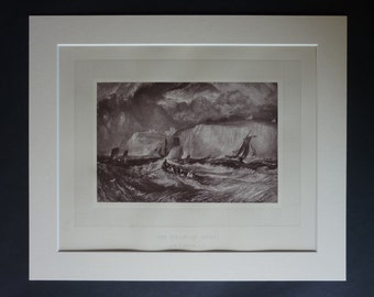 1870s Antique JMW Turner Print of 'The Straits of Dover', Kent Decor, Available Framed, Storm Art, White Cliffs Gift Stormy Sea Photogravure