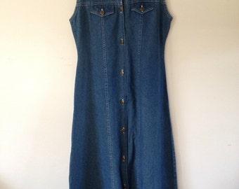 Retro 90s Button Up Denim Maxi Dress