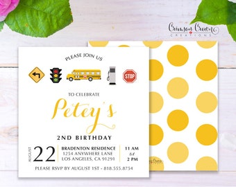 Wheels on the Bus Child's Birthday Invitation - Baby, Toddler, Kid's School Bus Birthday Party Invite - Transportation Party - Digital File