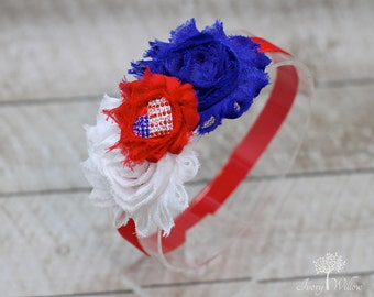 Patriotic Heart Headband - 4th of July Headband - Red White and Blue Headband - American Flag Headband - Baby - Adult - Fourth of July