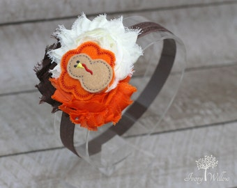Thanksgiving Turkey Headband - Thanksgiving Headband - Fall Headband - Orange Ivory and Brown Felt Turkey Headband - Baby Headband