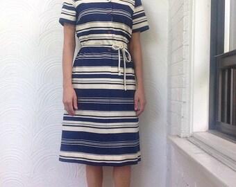 1970s Varying Stripes Shirt Dress