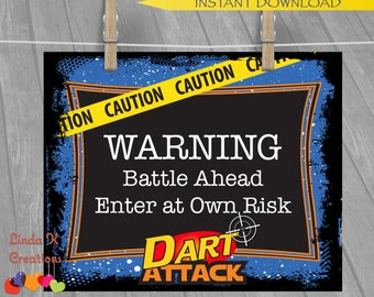 """Dart Tag """"Nerf Wars"""" Inspired Party Welcome Sign/Poster 