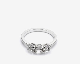 Three herkimer diamond set silver ring