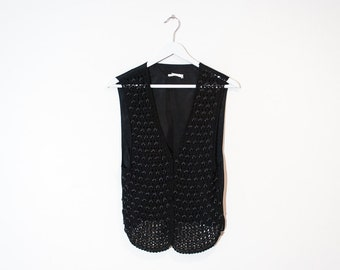 on sale - black beaded button-up crochet vest / sleeveless evening mesh top / size M