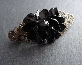 Barrette Flower black