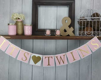 It's Twins Banner - Baby Girl Banner - Baby Shower Banner - Pink & Gold Baby Shower Decor