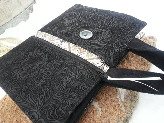 Faux Tooled Black Leather Bible Cover