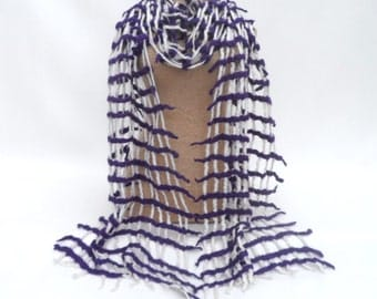 White and purple lattice felted scarf