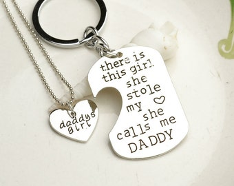 Father Daughter Gift SET - MINI Dogtag Keychain Necklace - Father's Day Gift - She Calls Me Daddy - Daddy's Girl