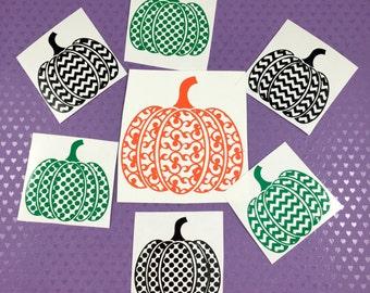Pumpkin Decal, Yeti Decal, Car Decal, Flourish Pumpkin Decal, Dotted Pumpkin Decal, Chevron Pumpkin Decal, Fall Decal, Harvest Decal