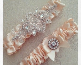 20% OFF Peach Bridal garter set, Wedding Garter set, Custom Color Wedding Garter, Personalized Wedding Garter