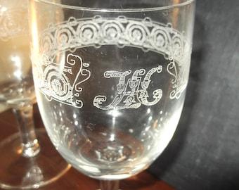 SALE Pair of Vintage Etched & Monogram Wine Glasses