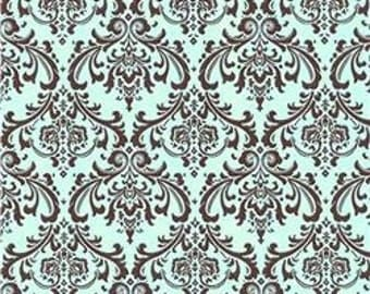 One and One Half Yard- Madison Brown French Blue Premier Prints Fabric - Blue and Brown Home Decor Fabric
