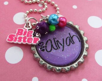 BIG SISTER Gift Necklace Personalized Girls Necklace Purple Birthday New Sister New Siblings
