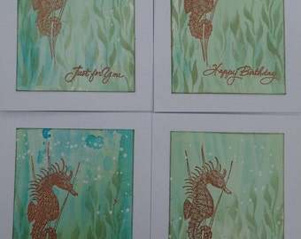 Set of FOUR Handmade Greeting Cards with Copper Embossed Seahorse