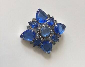 Vintage 1960s Brooch Cobalt Blue Glass Rhinestone Pin