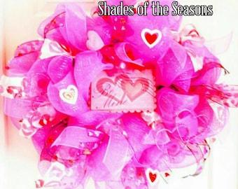 Pretty In Pink Valentine Wreath, Poly Mesh Wreath