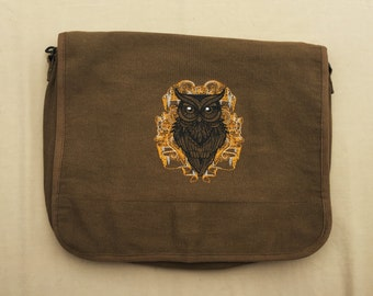 Owl Embroidered Messenger Bag (Home Embroidered)