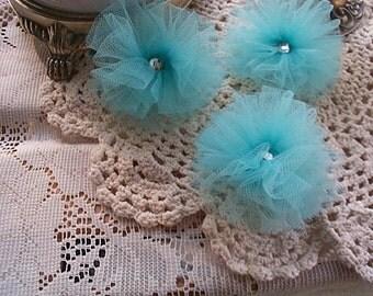 Blue Matte Tulle Flowers Set 3