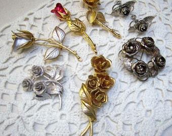 Summer Sale...Vintage Lot ROSE Brooches/ Earrings...SEVEN (7) Roses...Coro Rose Brooch...Red Rose...Cluster Roses...Re-Vintage