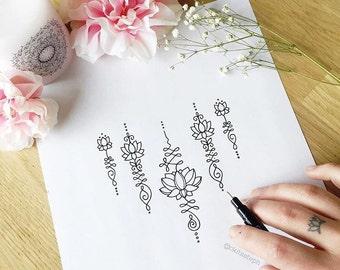 SALE ***** Lotus Unalome Temporary Tattoo Set