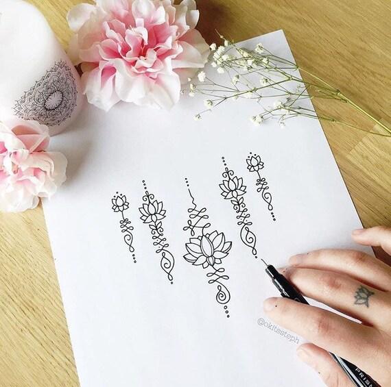 SALE Lotus Unalome Temporary Tattoo Set
